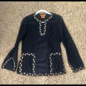 TORY BURCH Navy Embellished Tunic or Cover Up